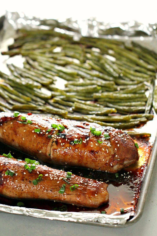 Sheet Pan Asian Pork Loin and Green Beans