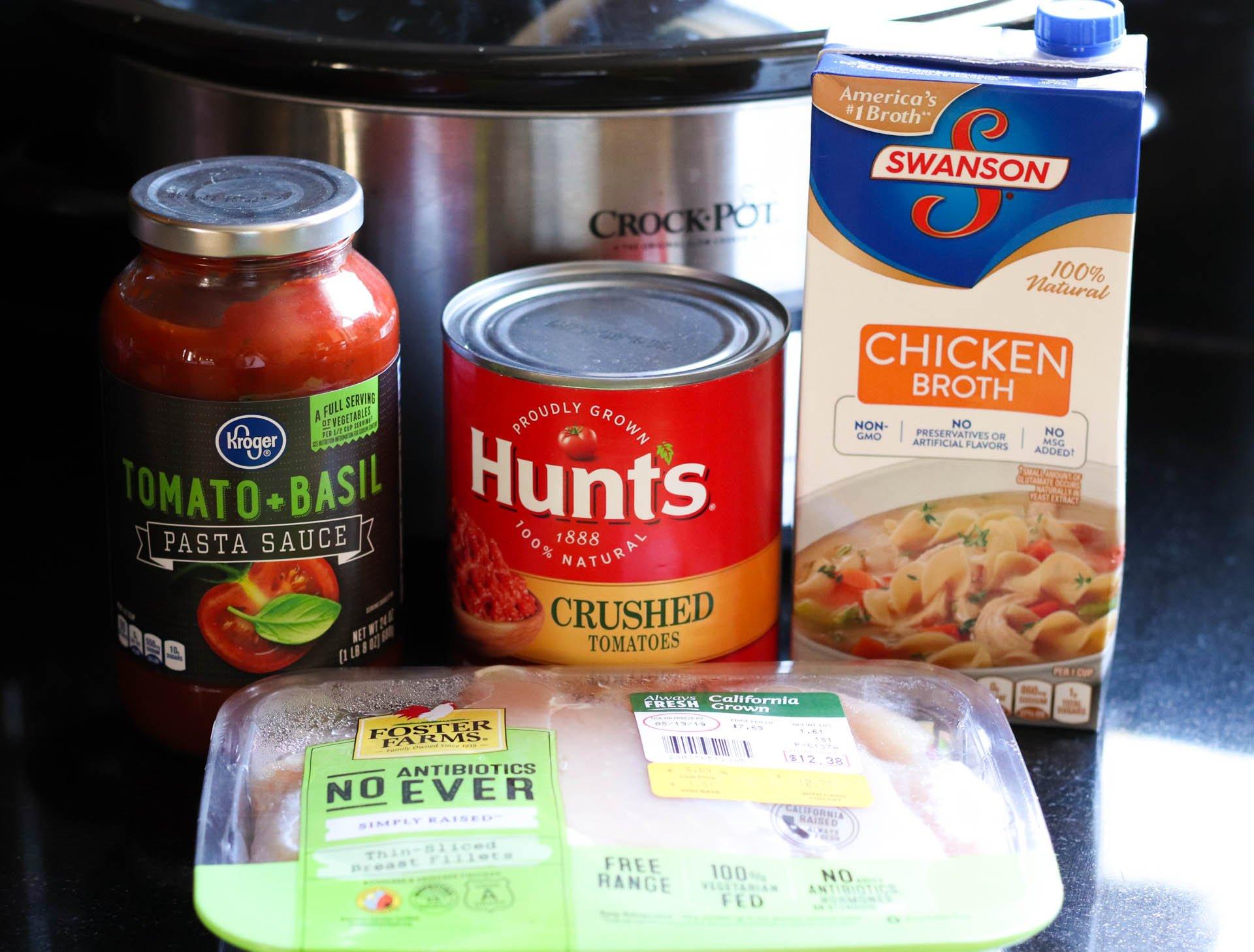 Ingredients for Slow Cooker Cheesy Chicken Tortellini