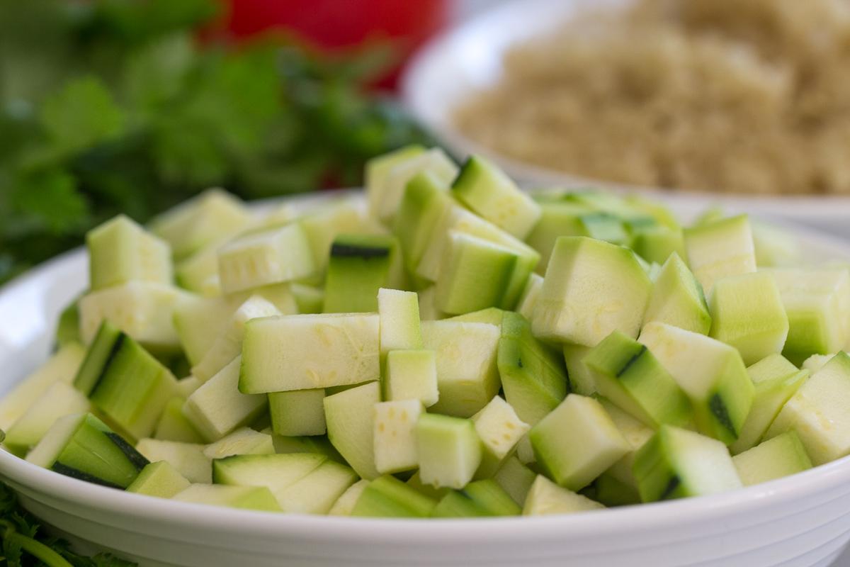 Cubed Zucchini in a white bowl
