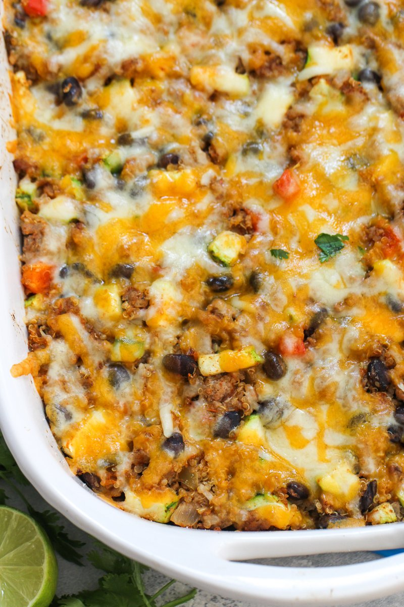 Zucchini Taco Casserole baked and topped with cheese