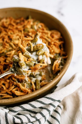 Classic Green Bean Casserole baked for six sisters