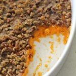 Instant Pot Sweet Potato casserole in dish