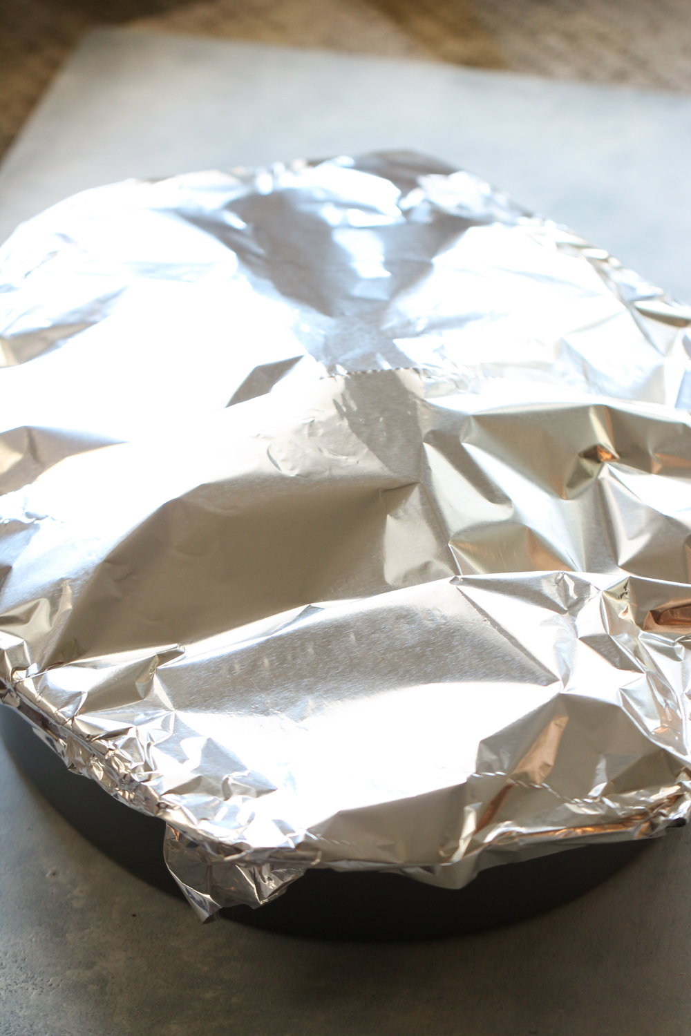 Turkey that has been tented with foil before baking on six sisters stuff