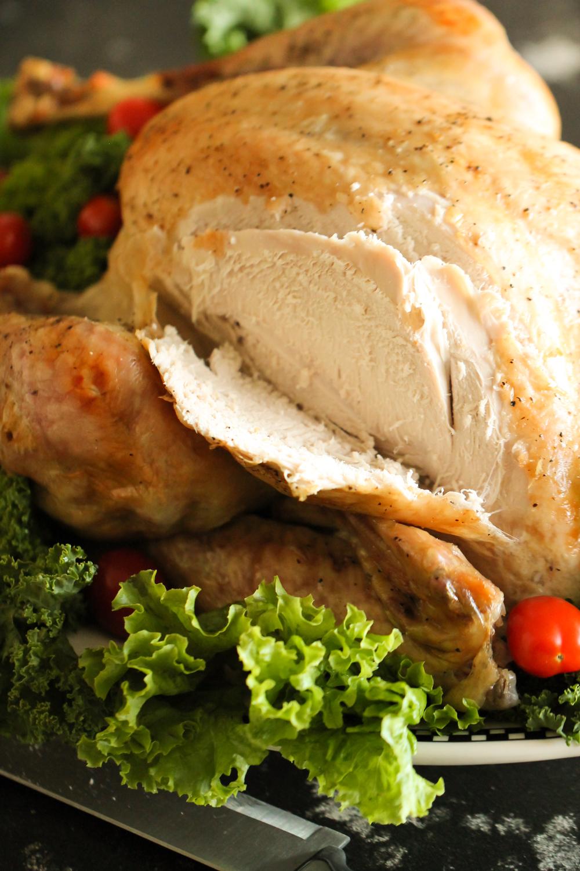Whole cooked turkey sliced on six sisters stuff
