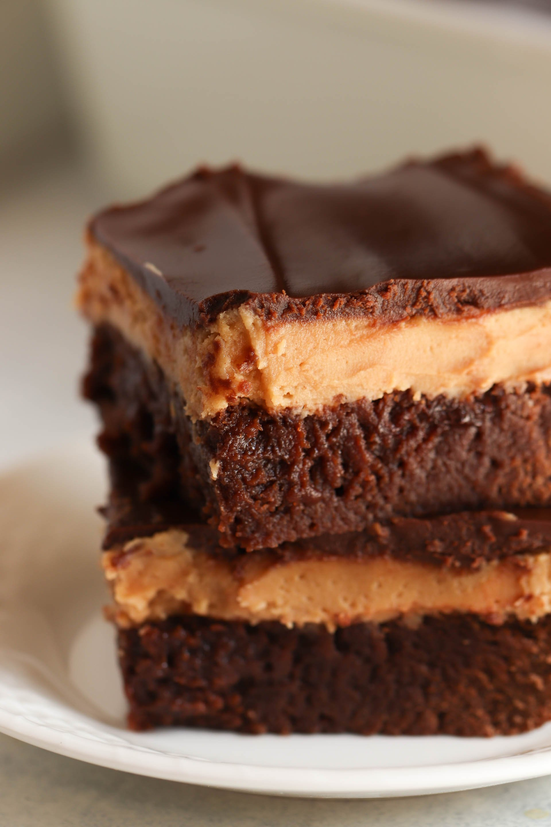 Buckeye Brownies cut into squares stacked