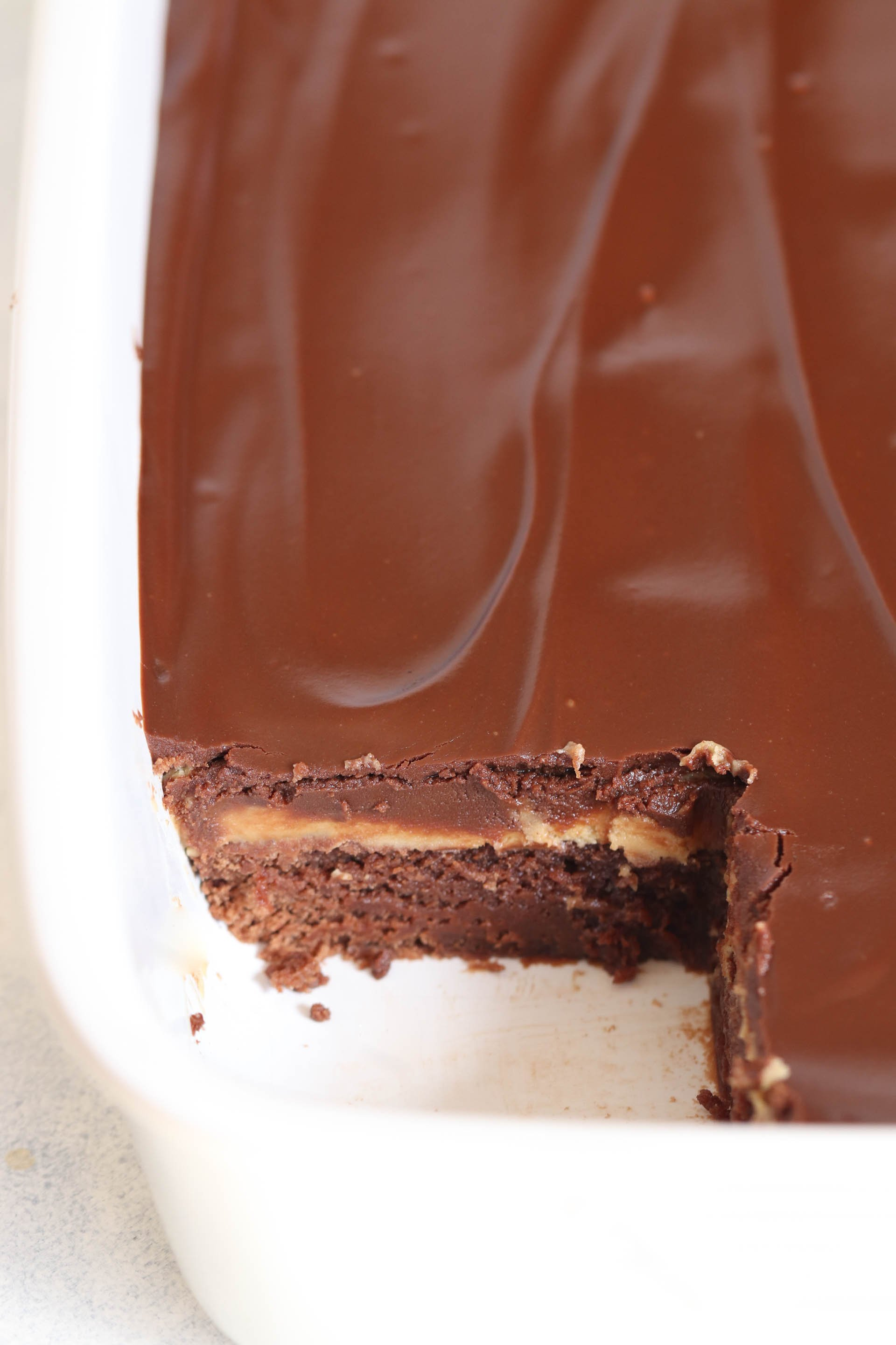 Pan of Buckeye Brownies with one square missing
