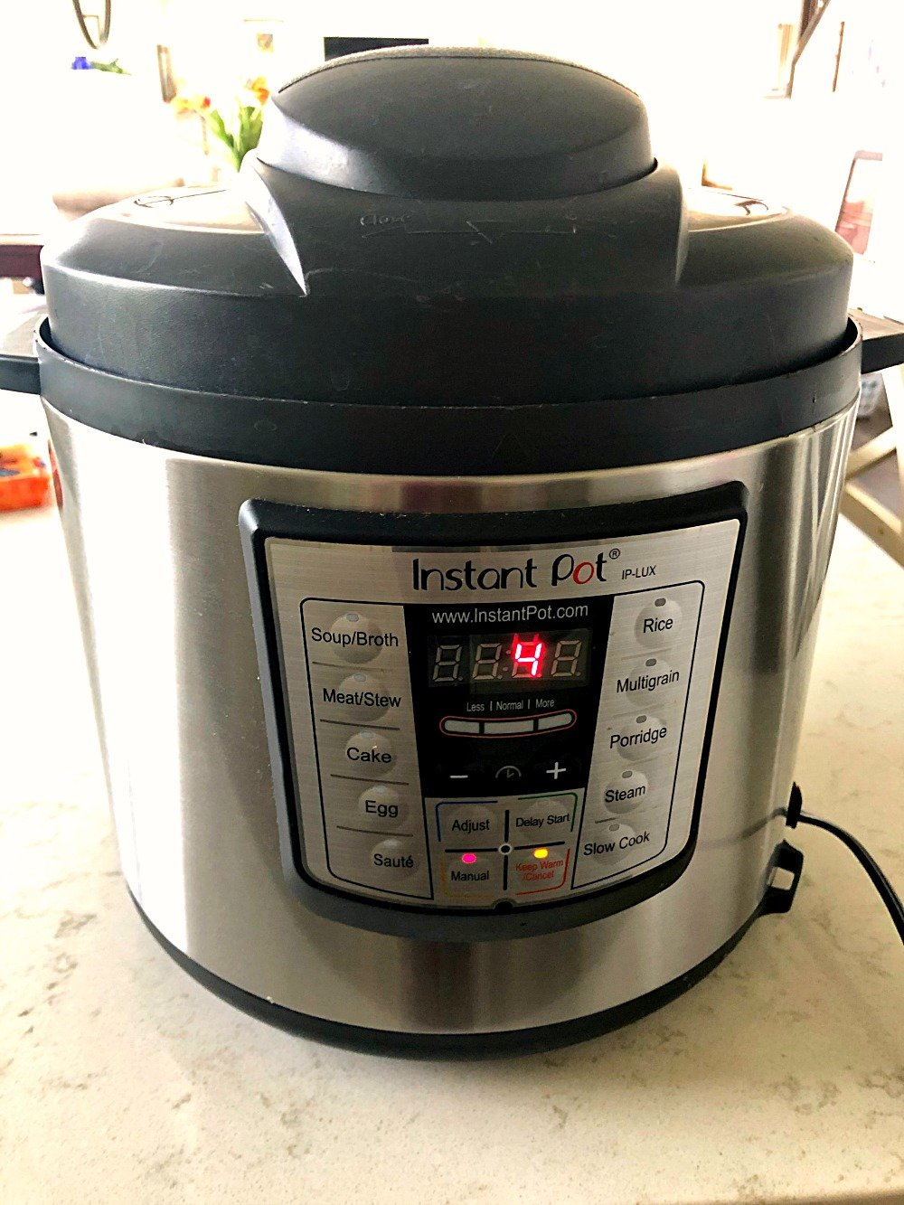 Instant pot set at 4 minutes cook time