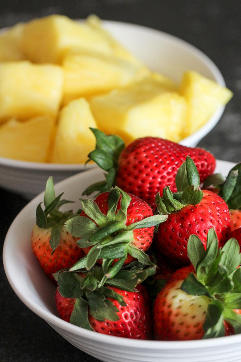 Fresh Pineapple and Strawberries