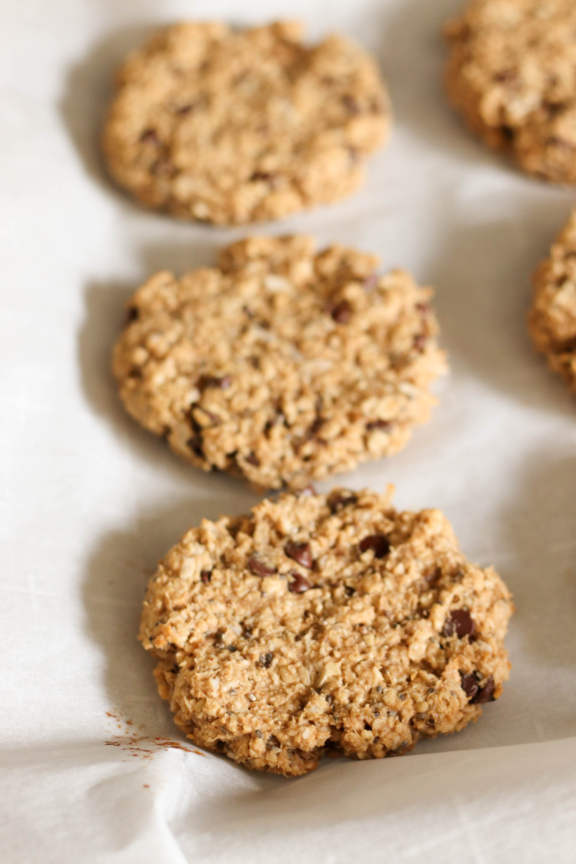 Close up of a Breakfast Cookie on parchment paper