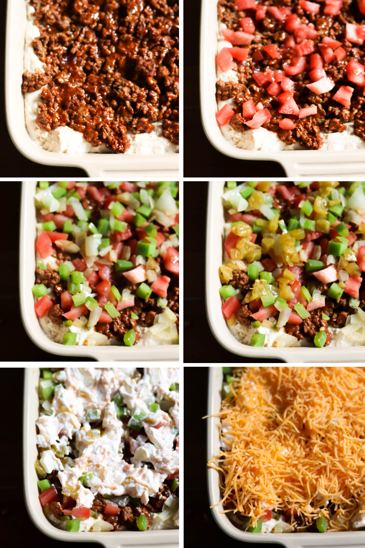 Layering stages for the John Wayne Casserole in a white casserole dish