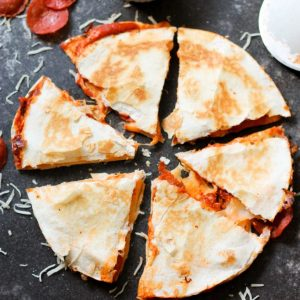 Easy pizza quesadillas with pepperoni and cheese