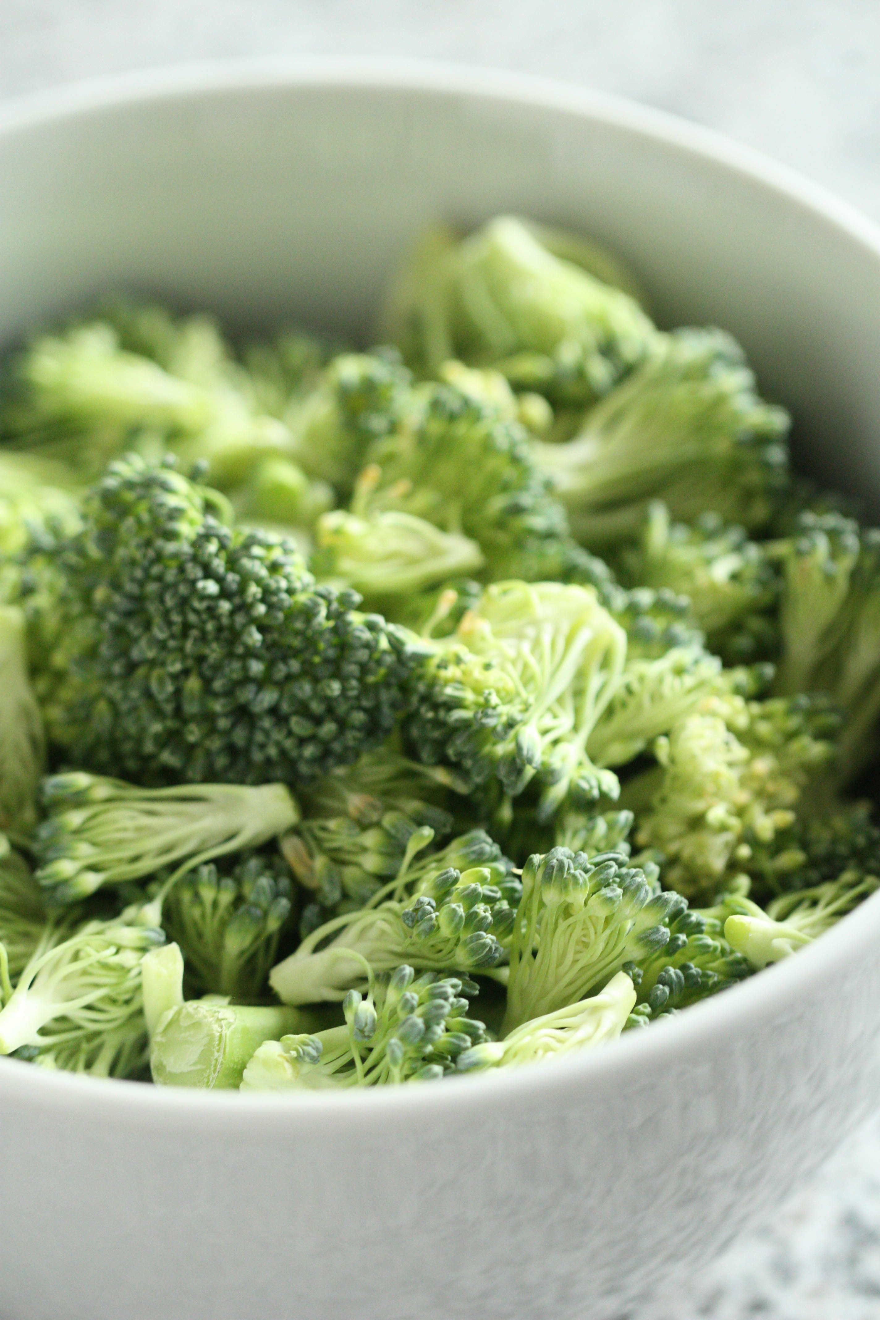 freshly chopped, uncooked broccoli that will be steamed separately