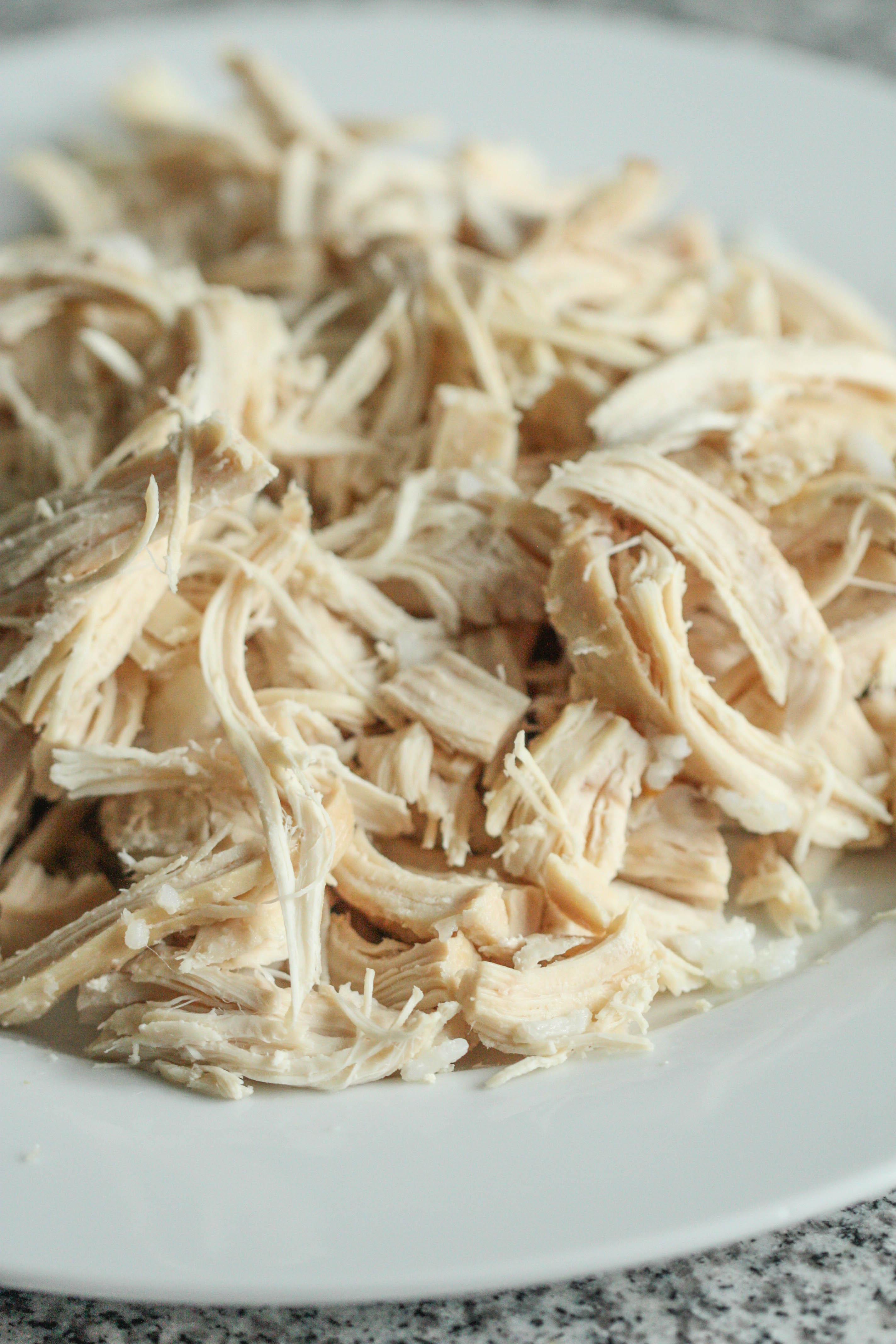 shredded, cooked chicken before teriyaki sauce is added