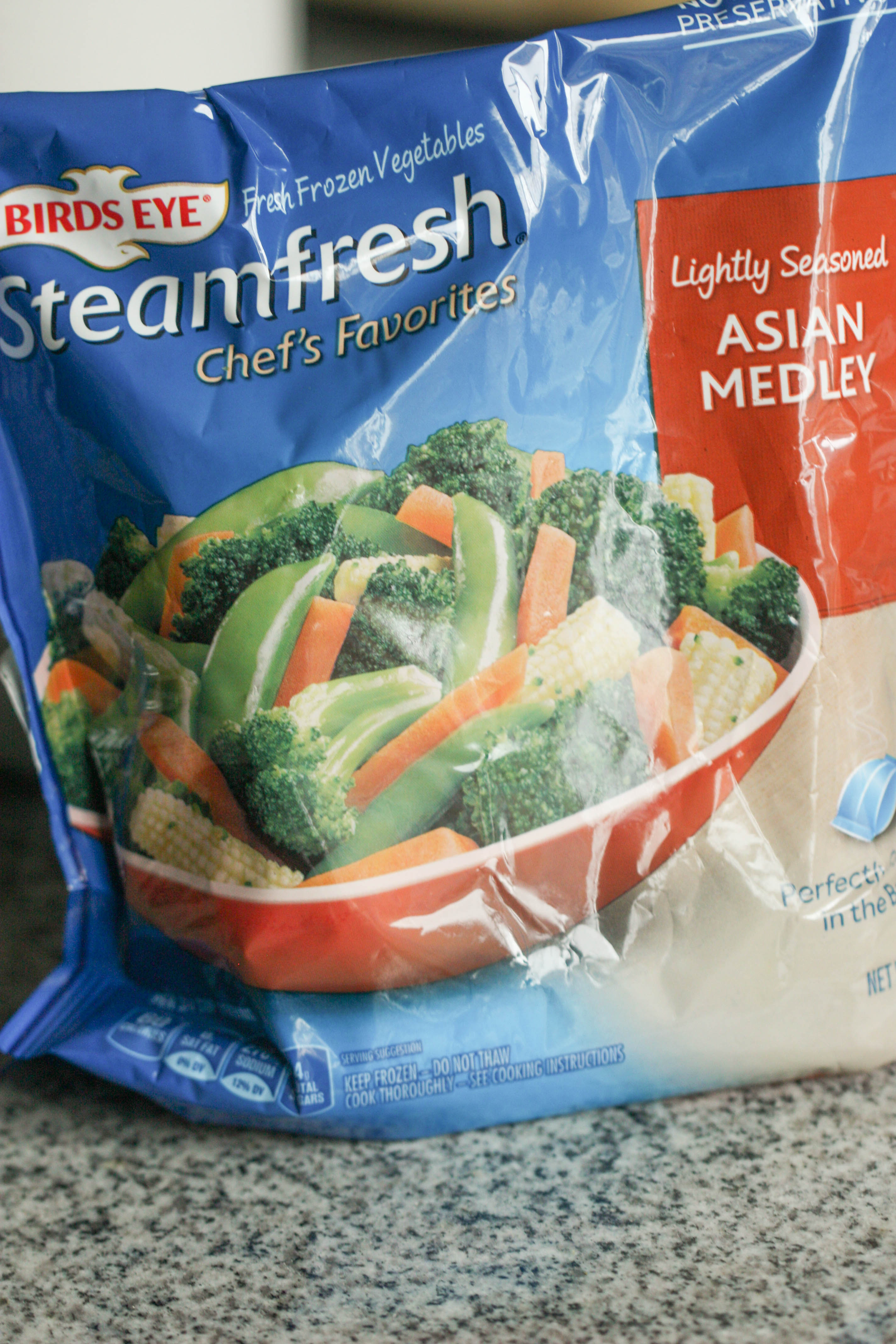a bag of frozen, microwaveable stir fry veggies that can be used in this recipe
