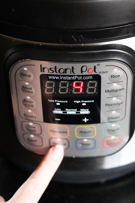 Set Instant pot timer to 4
