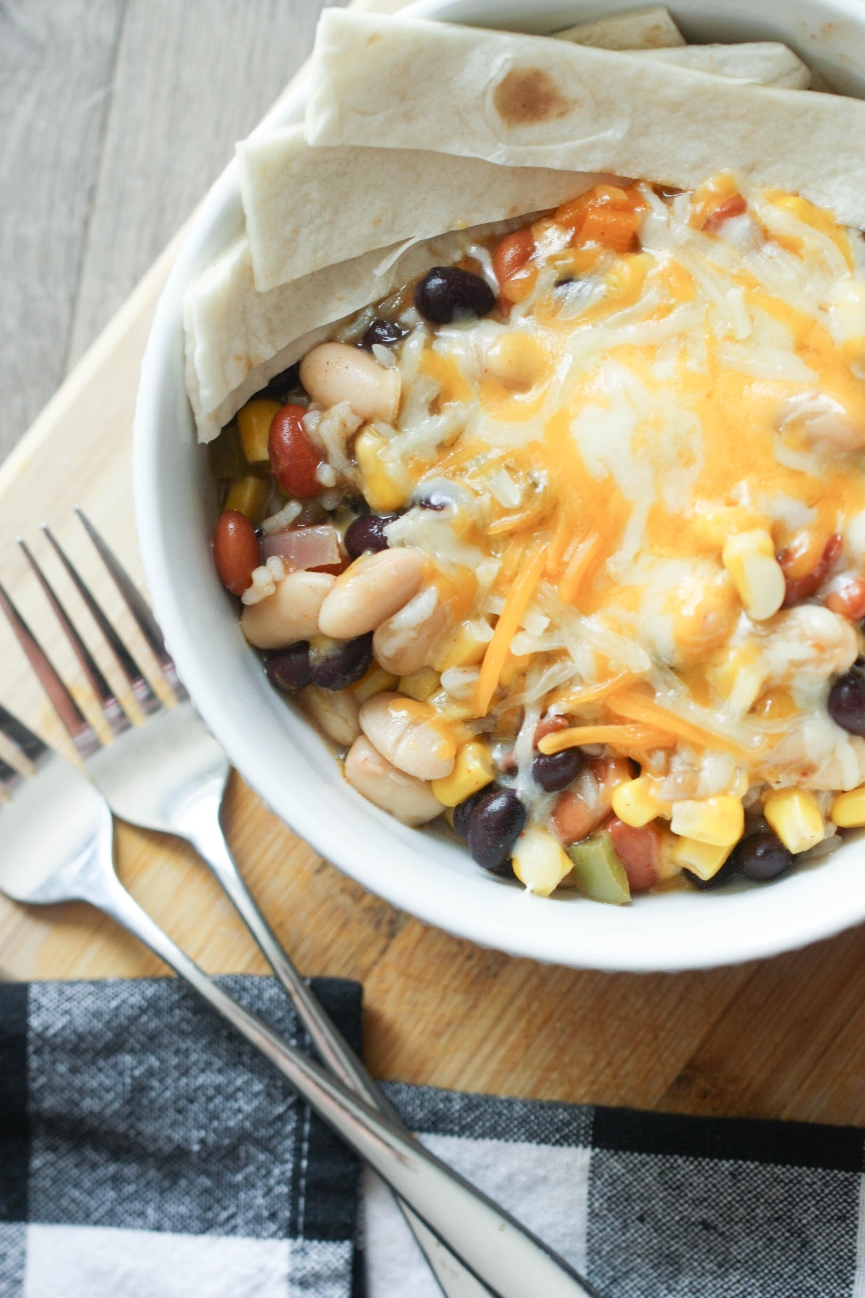 Instant Pot Three Bean Enchilada Casserole Recipe