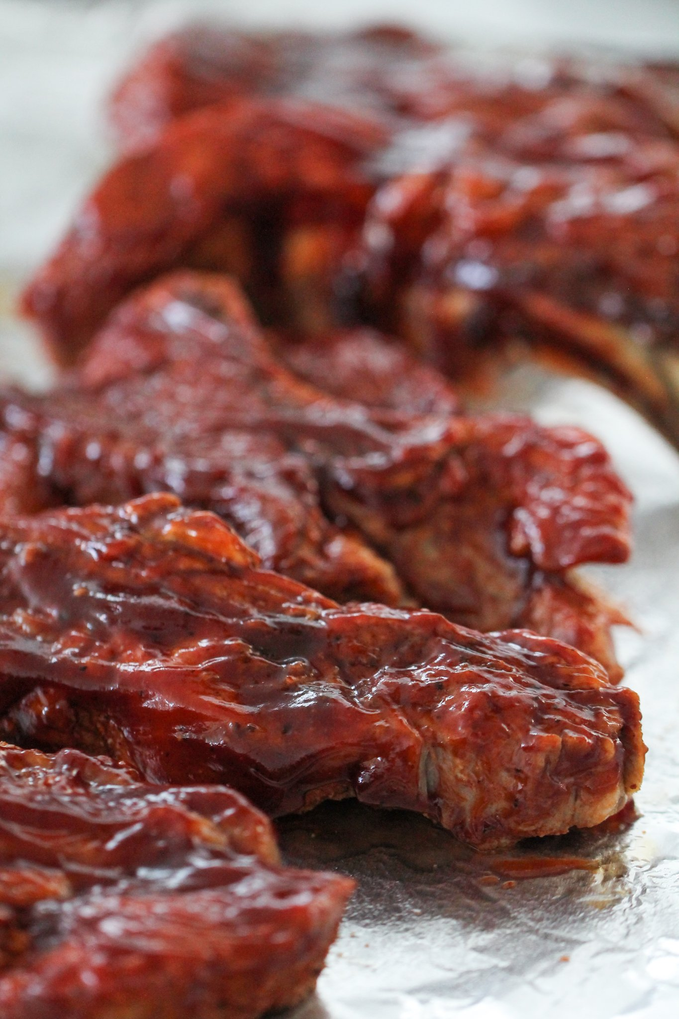 Instant Pot BBQ Country Ribs on a foil covered baking sheet