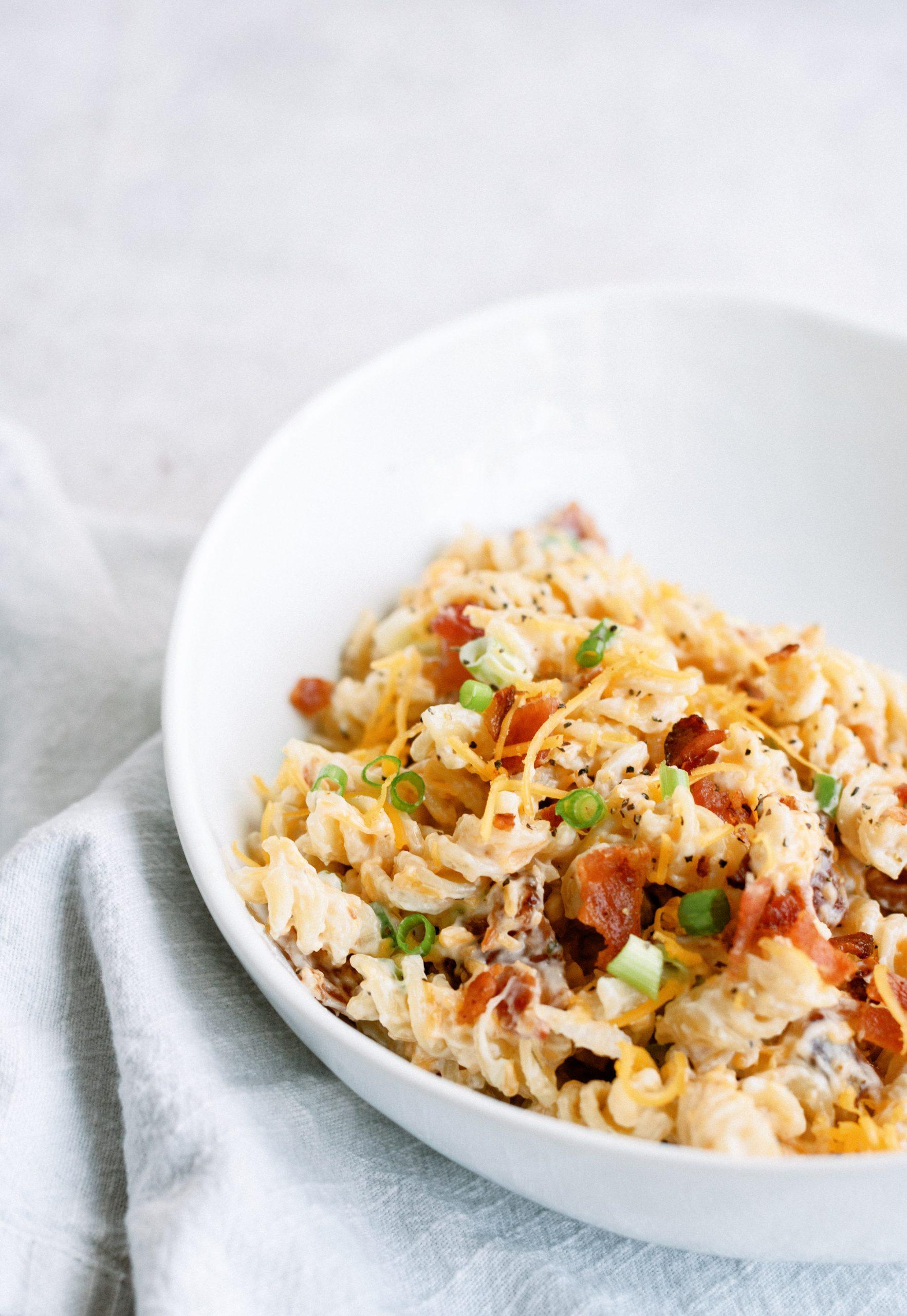 Cheesy Bacon Ranch Pasta Salad Recipe