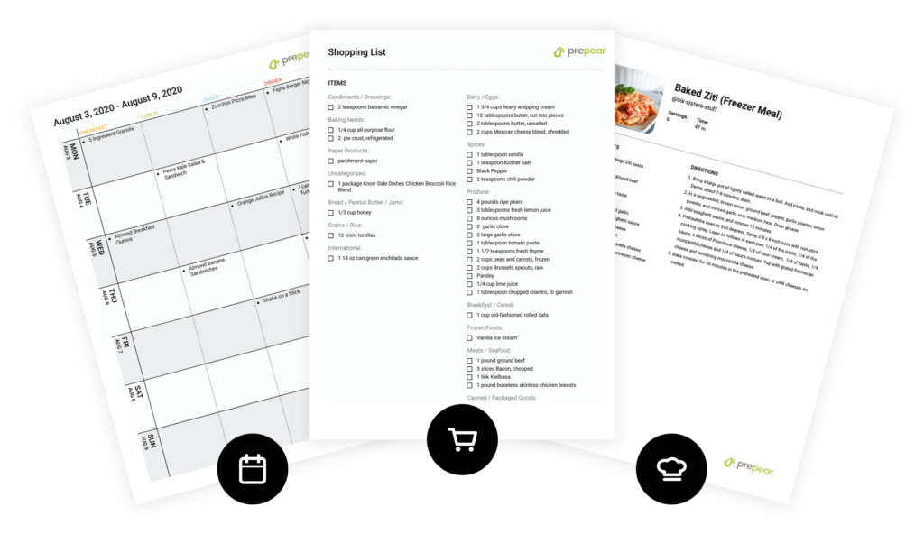 Printable Recipe and Menu Plans
