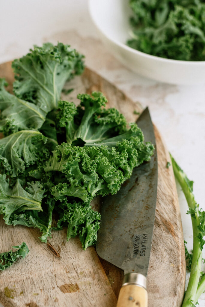 Chopped kale ready to go in the Instant Pot
