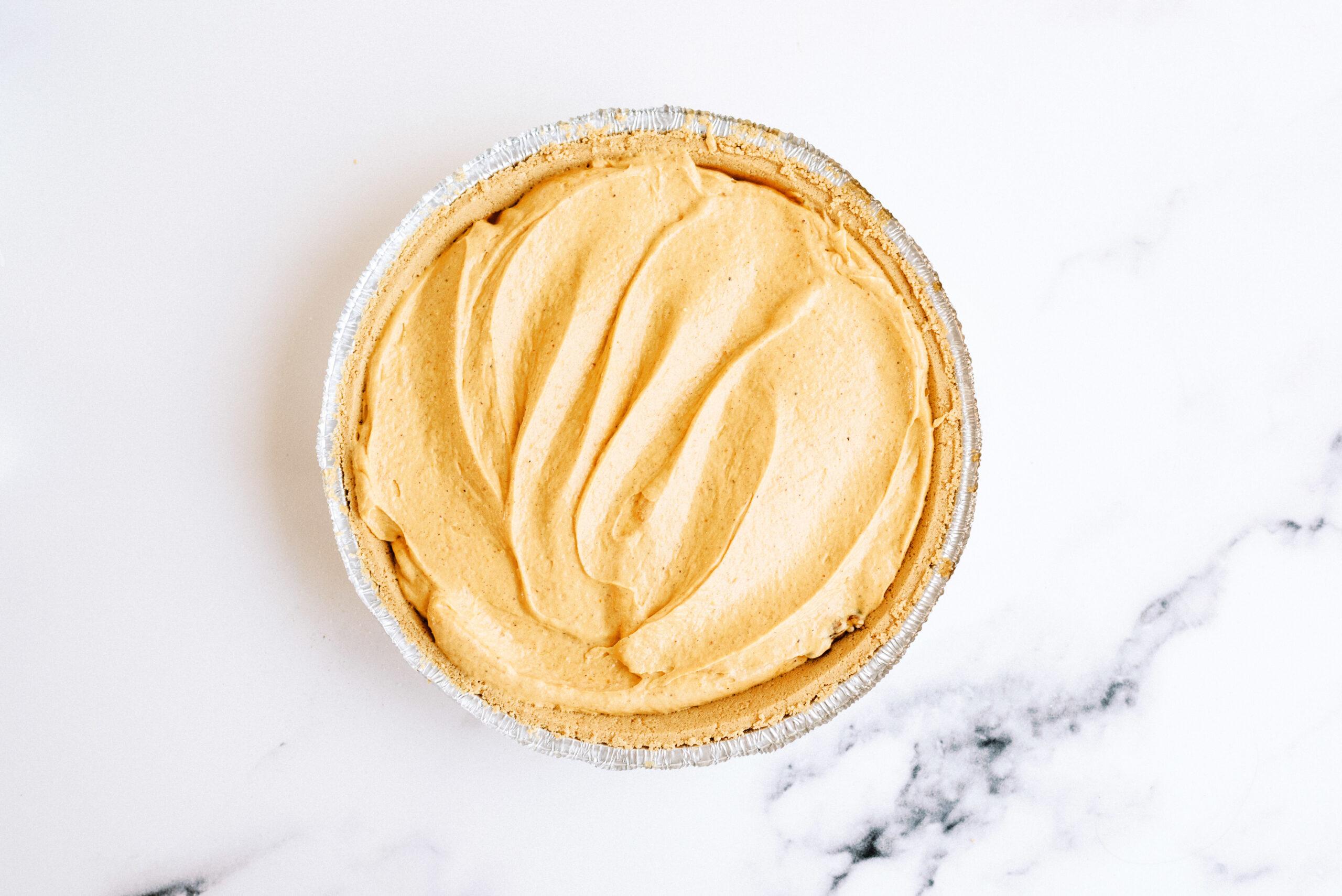 pie mixture added into pie crust