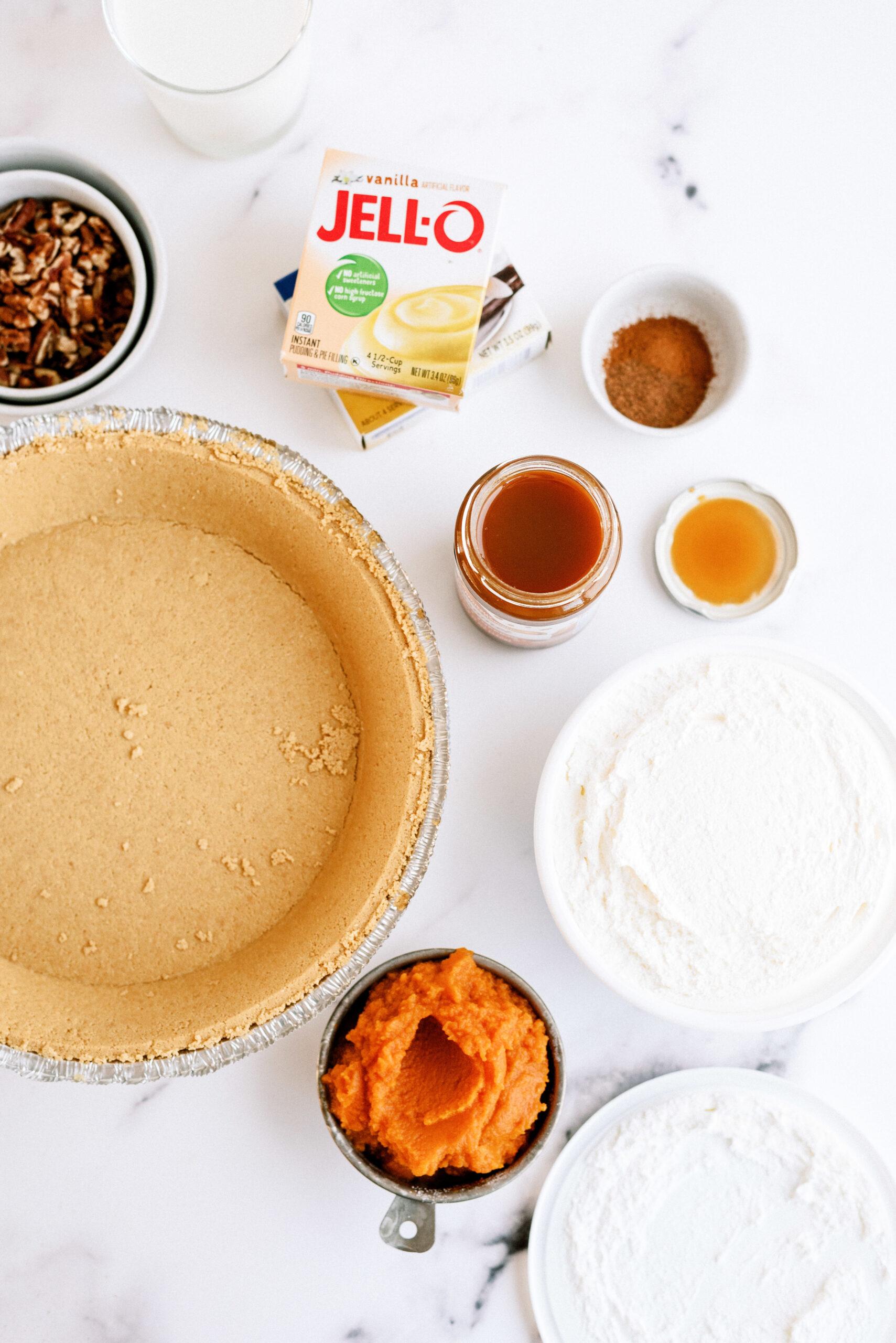Ingredients needed for caramel pecan turtle pumpkin pie