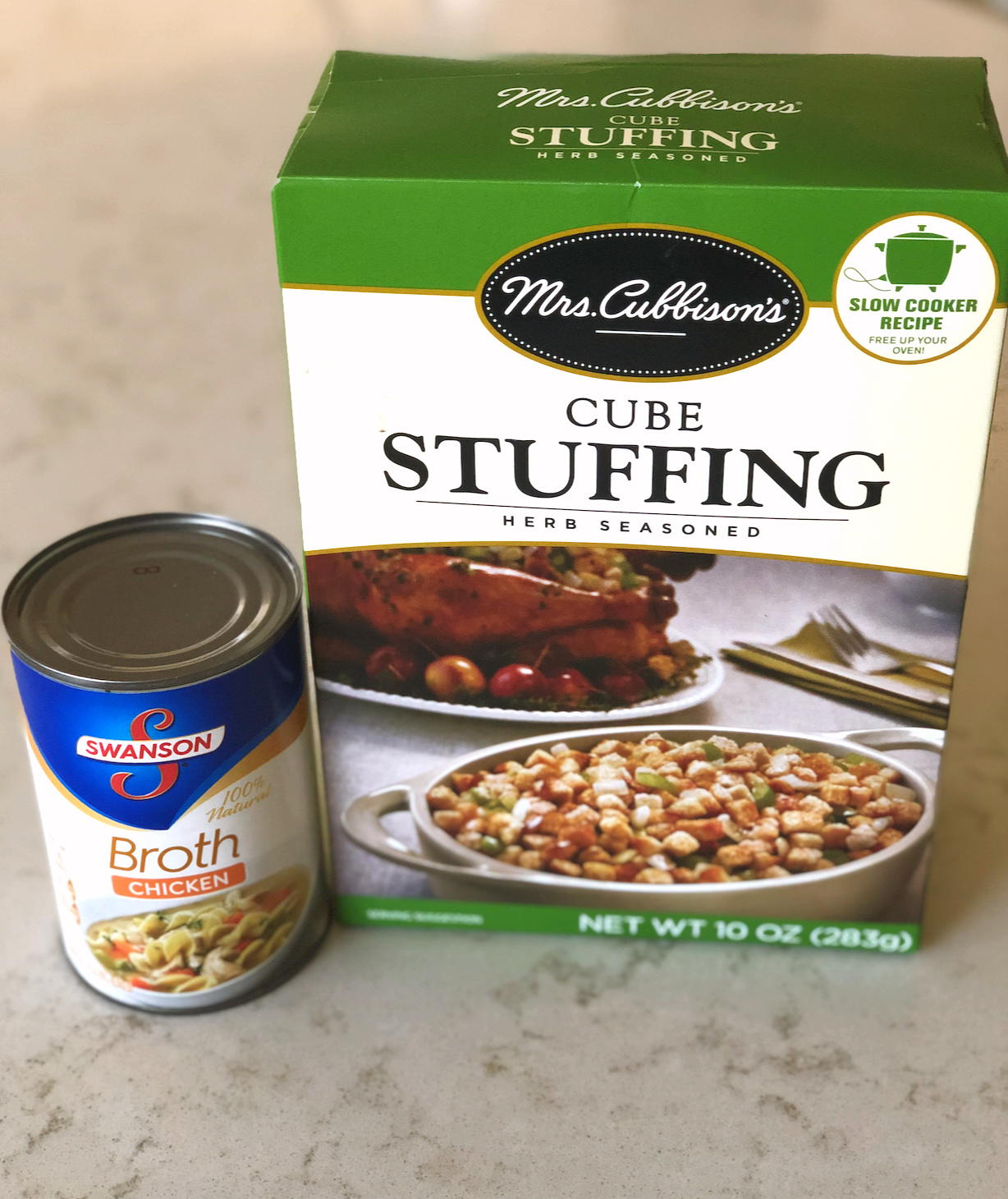can of chicken broth and box of stuffing cubes
