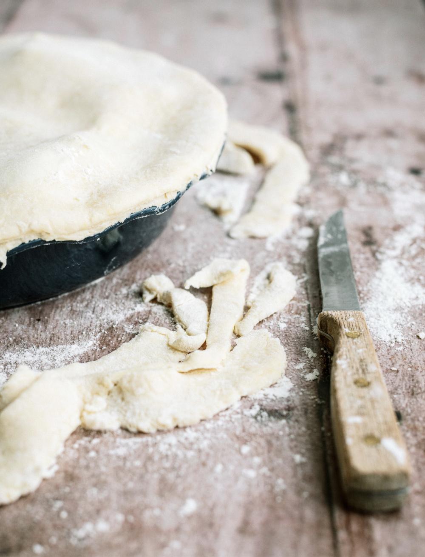 trimmed edges off the excess pie dough