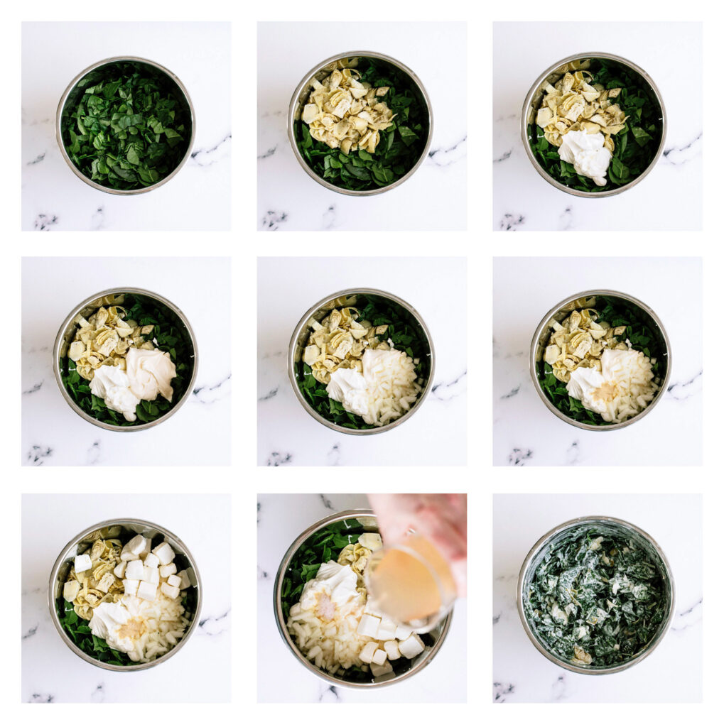 Step by Step images of how to make Spinach Artichoke Dip