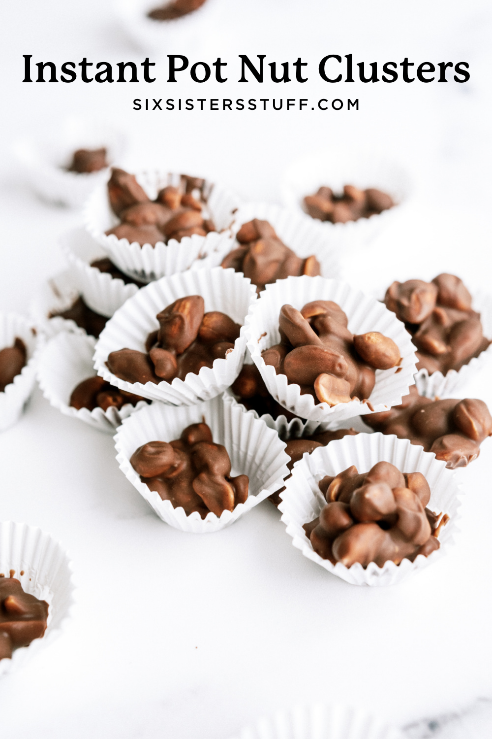 Instant pot chocolate clusters on a large white surface