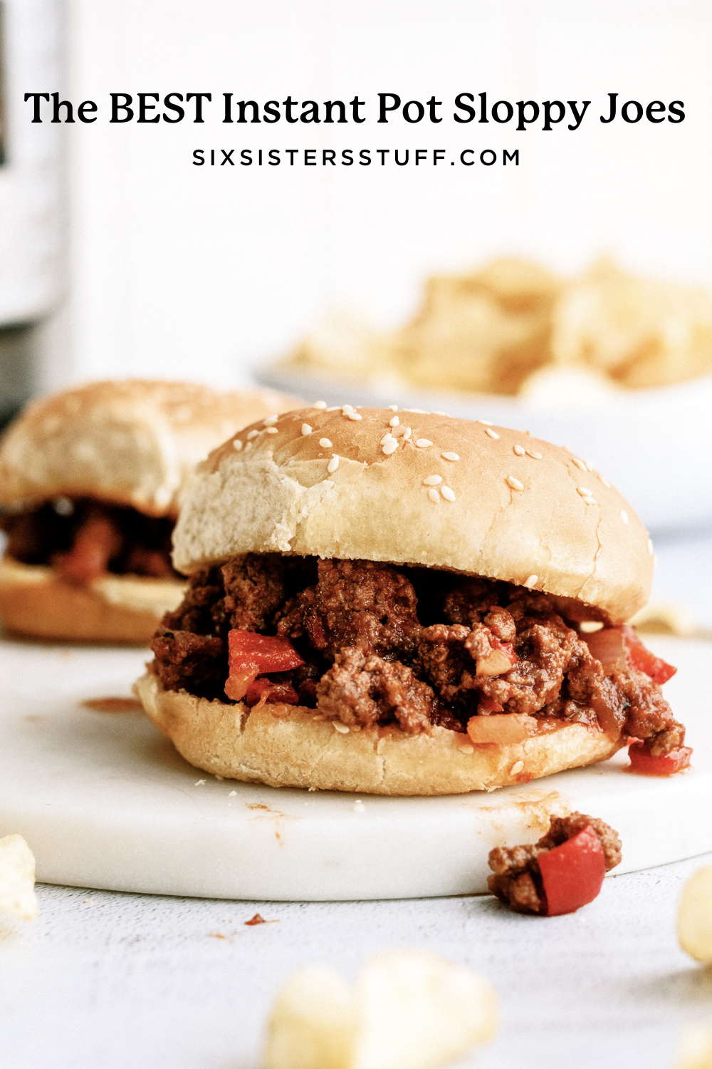 sloppy joes made in an instant pot on a platter
