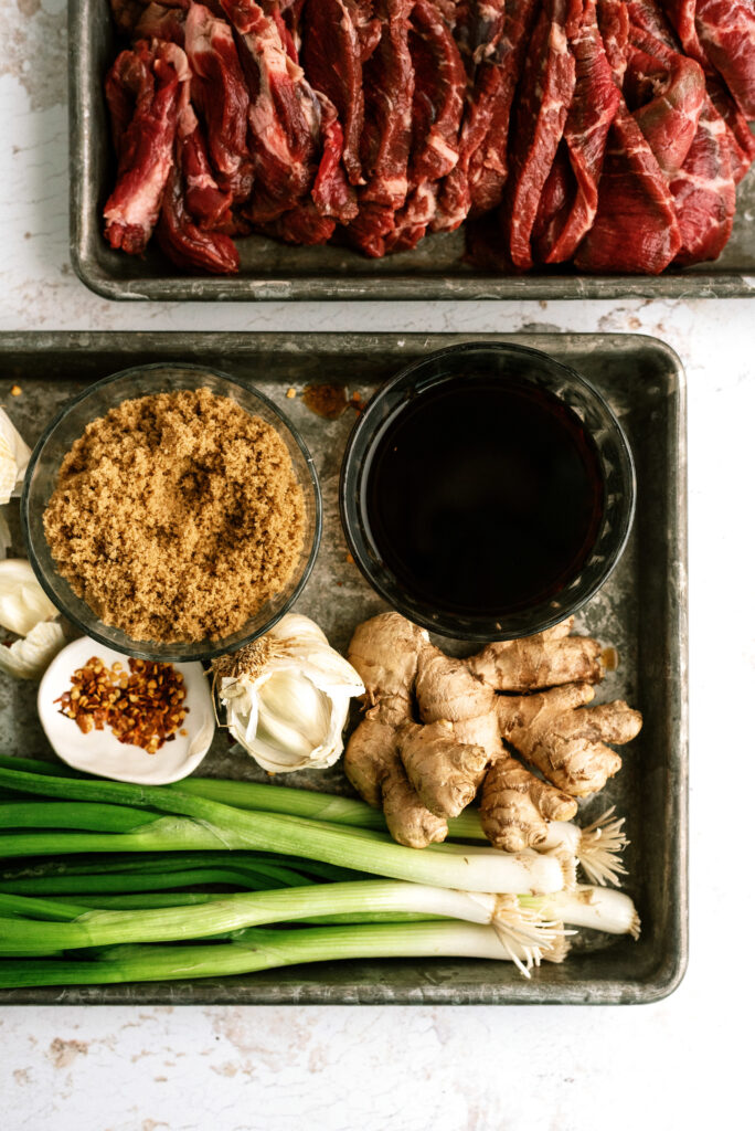Flank steak and ingredients for Mongolian Beef