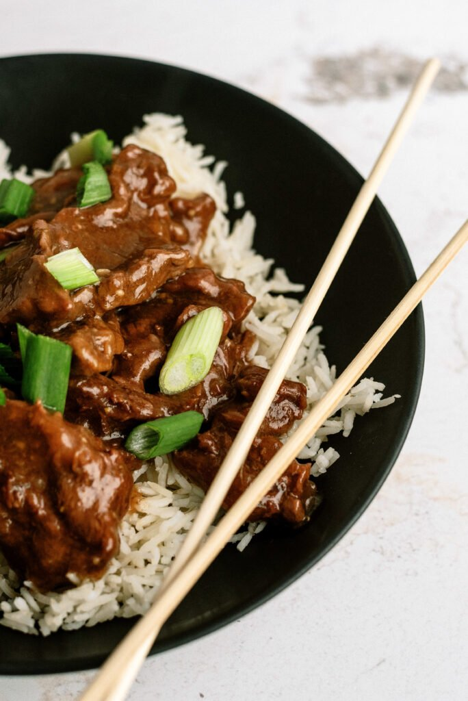 Plated Mongolian Beef with Chop Sticks