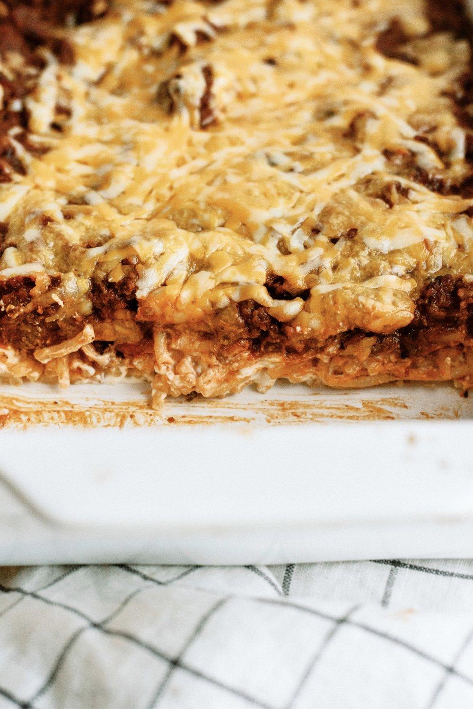 close up of million dollar spaghetti casserole in a 9x13 pan