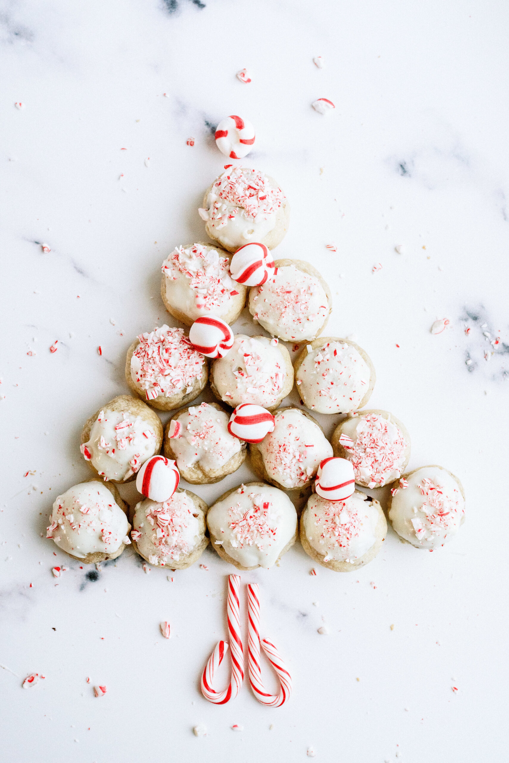 peppermint cookies in a christmas tree shape