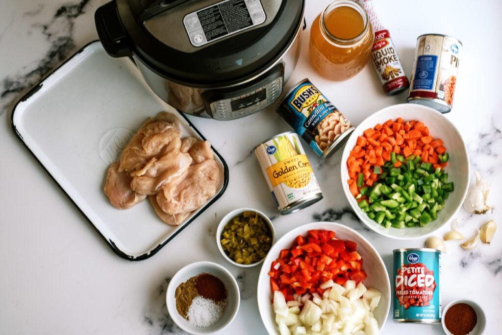 Ingredients for BBQ Chicken Chili