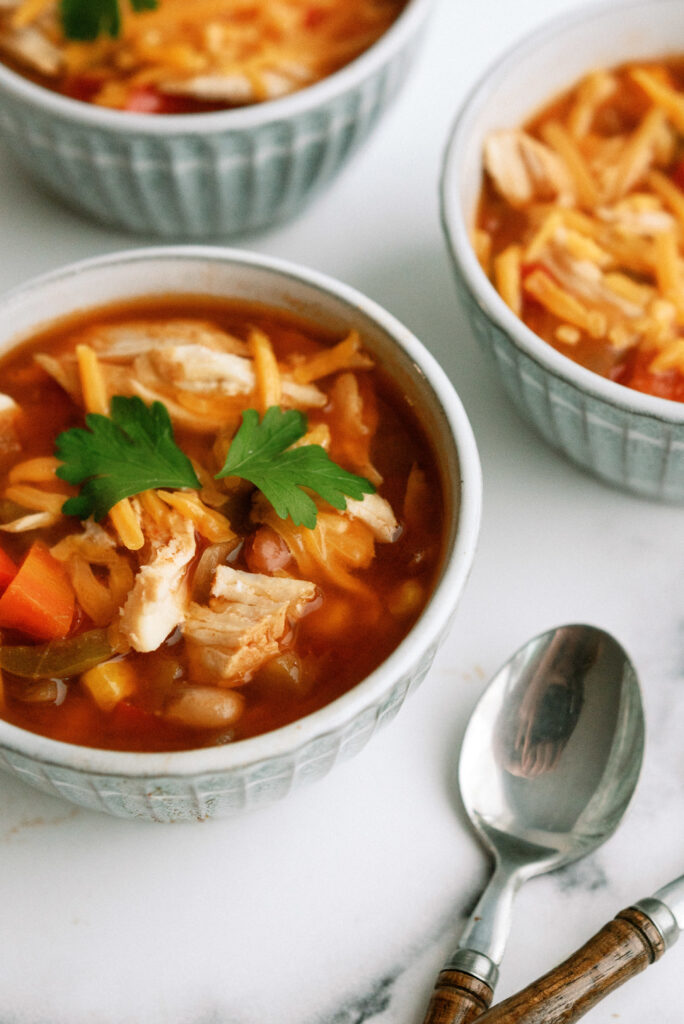 BBQ Chicken Chili with spoon