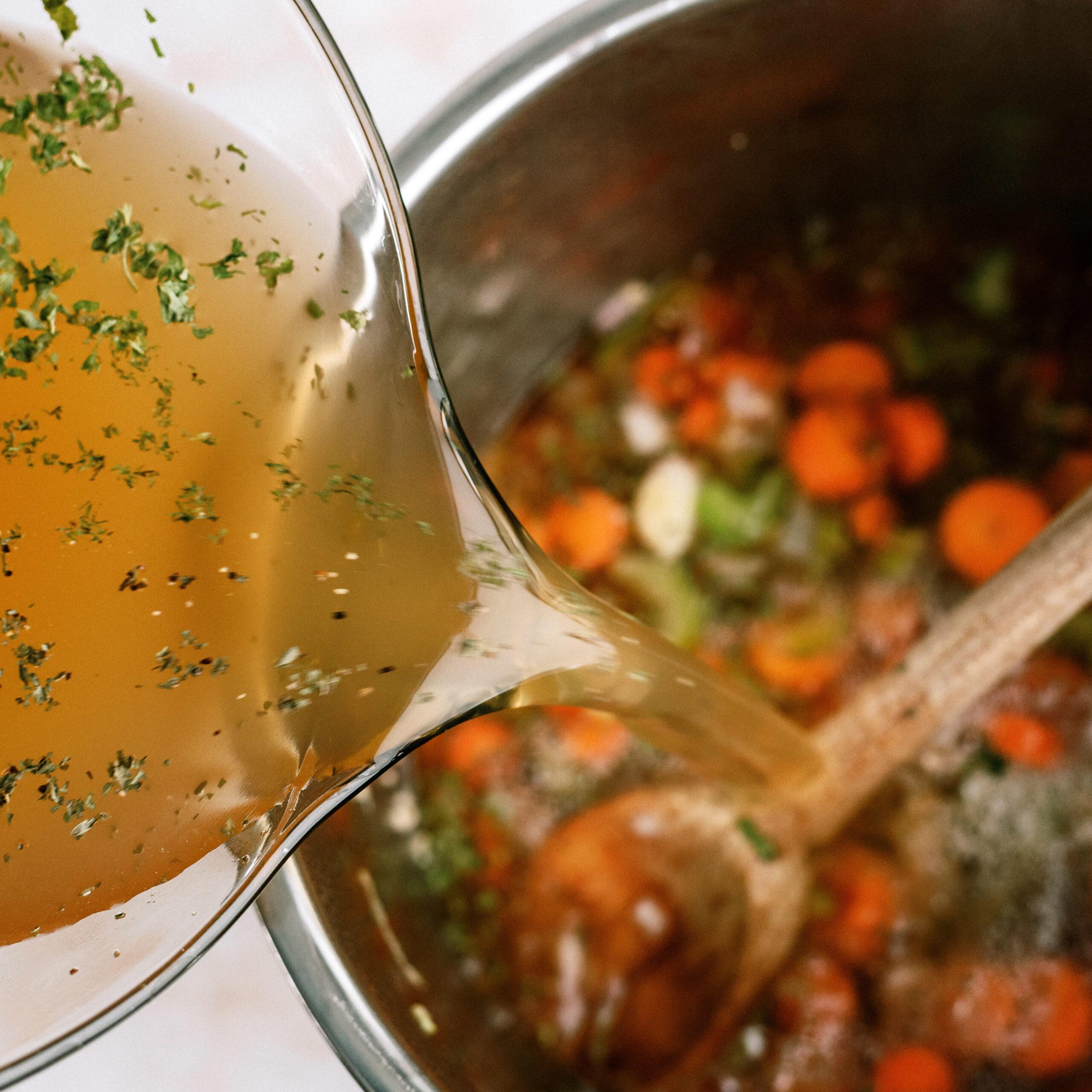 Broth added to Italian Wedding Soup