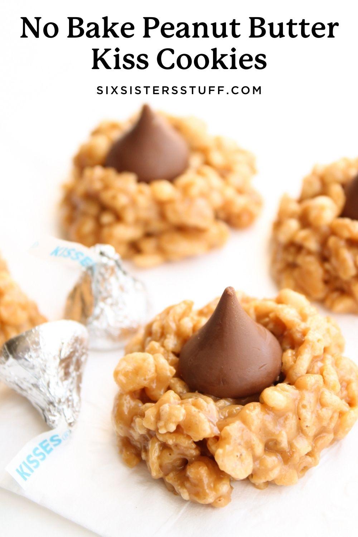 No bake peanut butter kiss cookies pinterest image