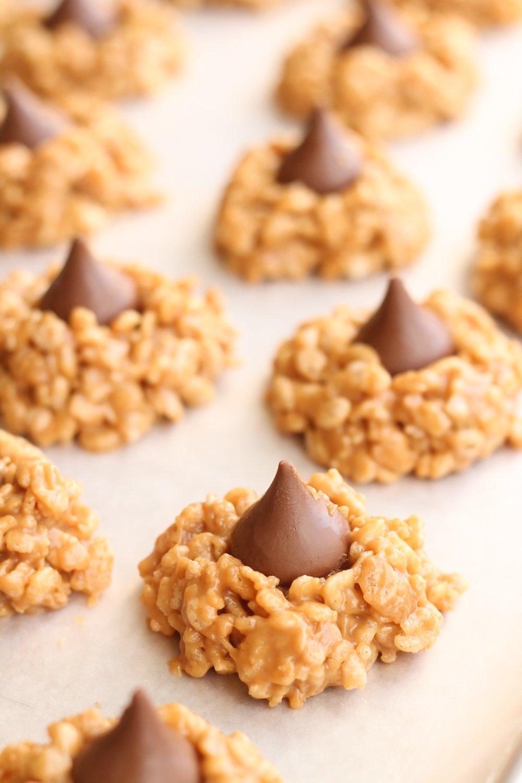 No bake peanut butter kiss cookies on baking sheet