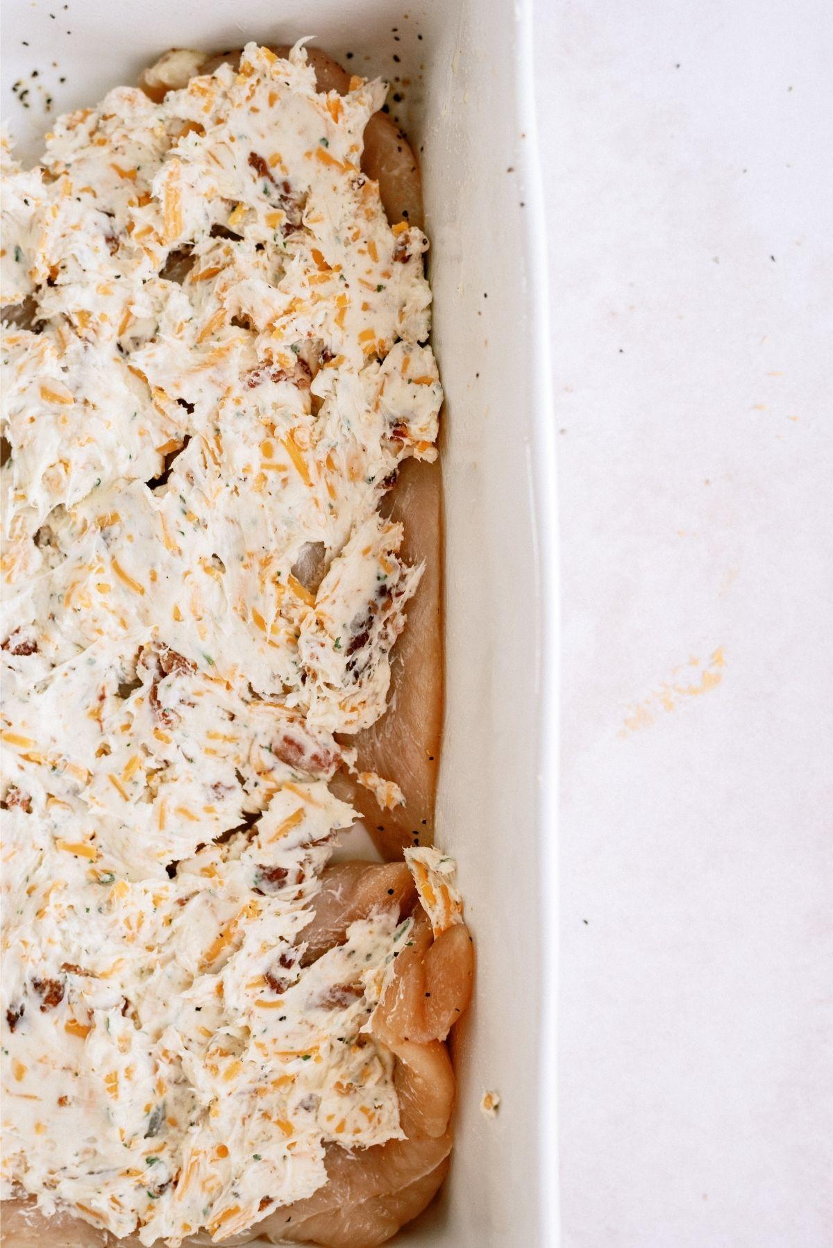 Crack Chicken Mixture Spread on Chicken Breast