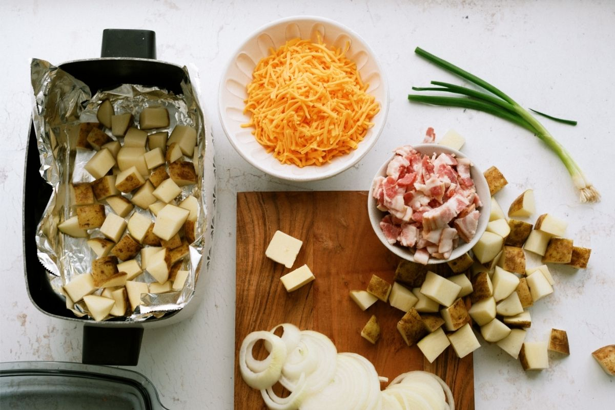 Ingredients for Slow Cooker Bacon Cheese Potatoes