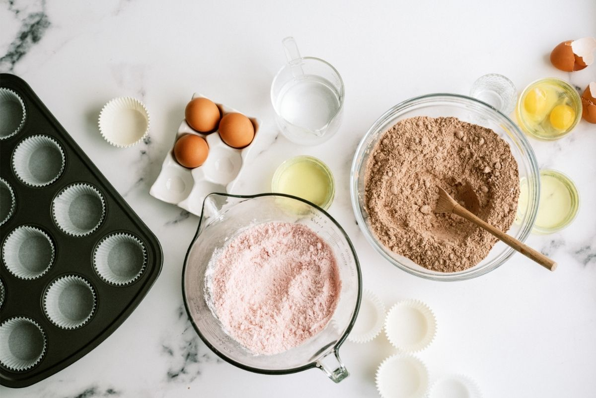 Ingredients for Valentine's Day Neapolitan Cupcakes