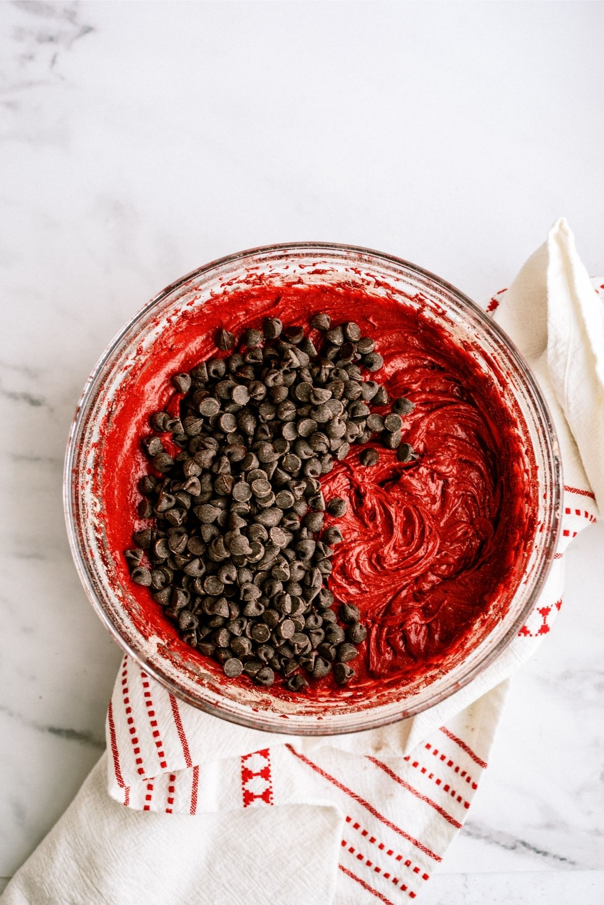 Red Velvet Brownie Batter with Chocolate Chips