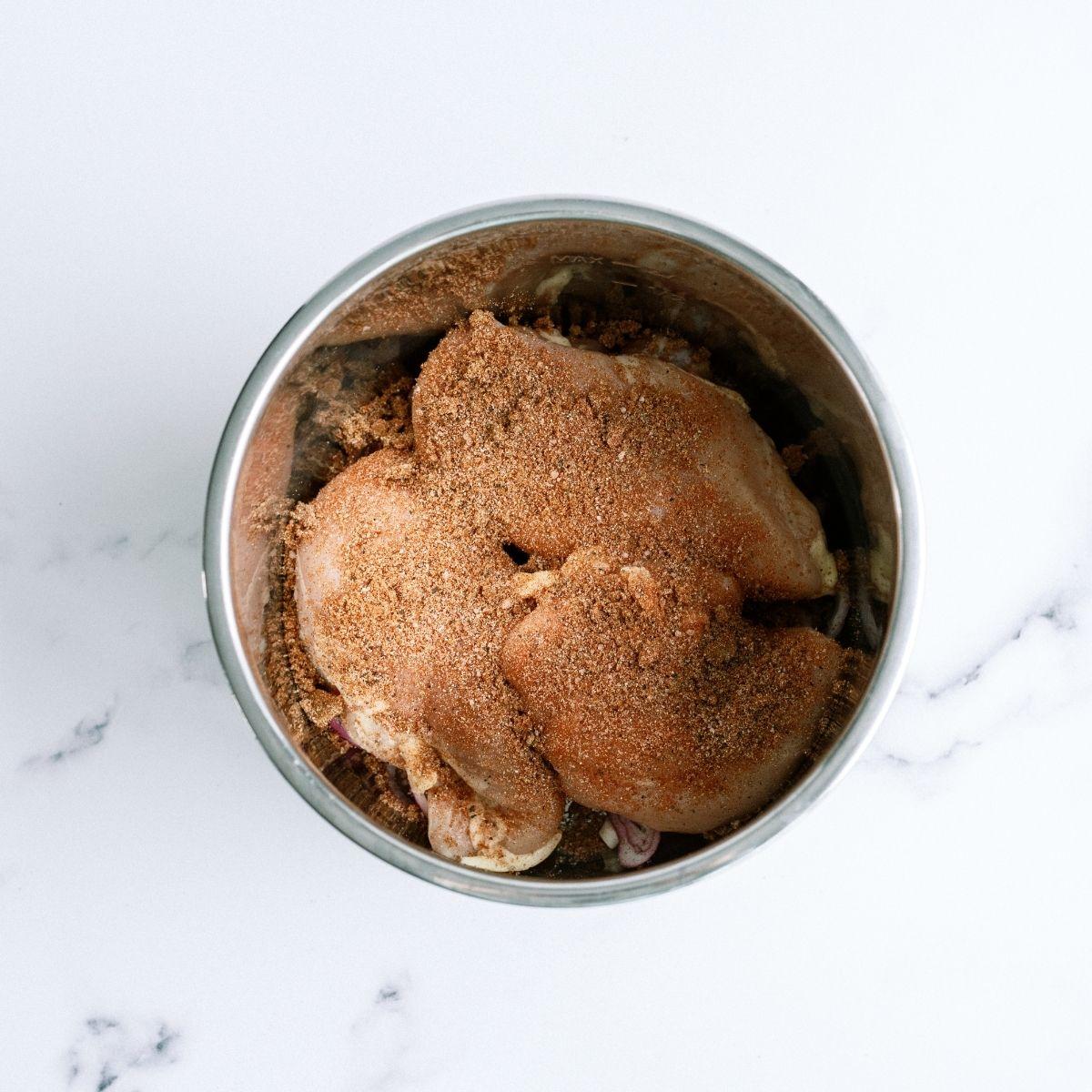 Seasoning on Chicken for Instant Pot BBQ chicken sandwiches