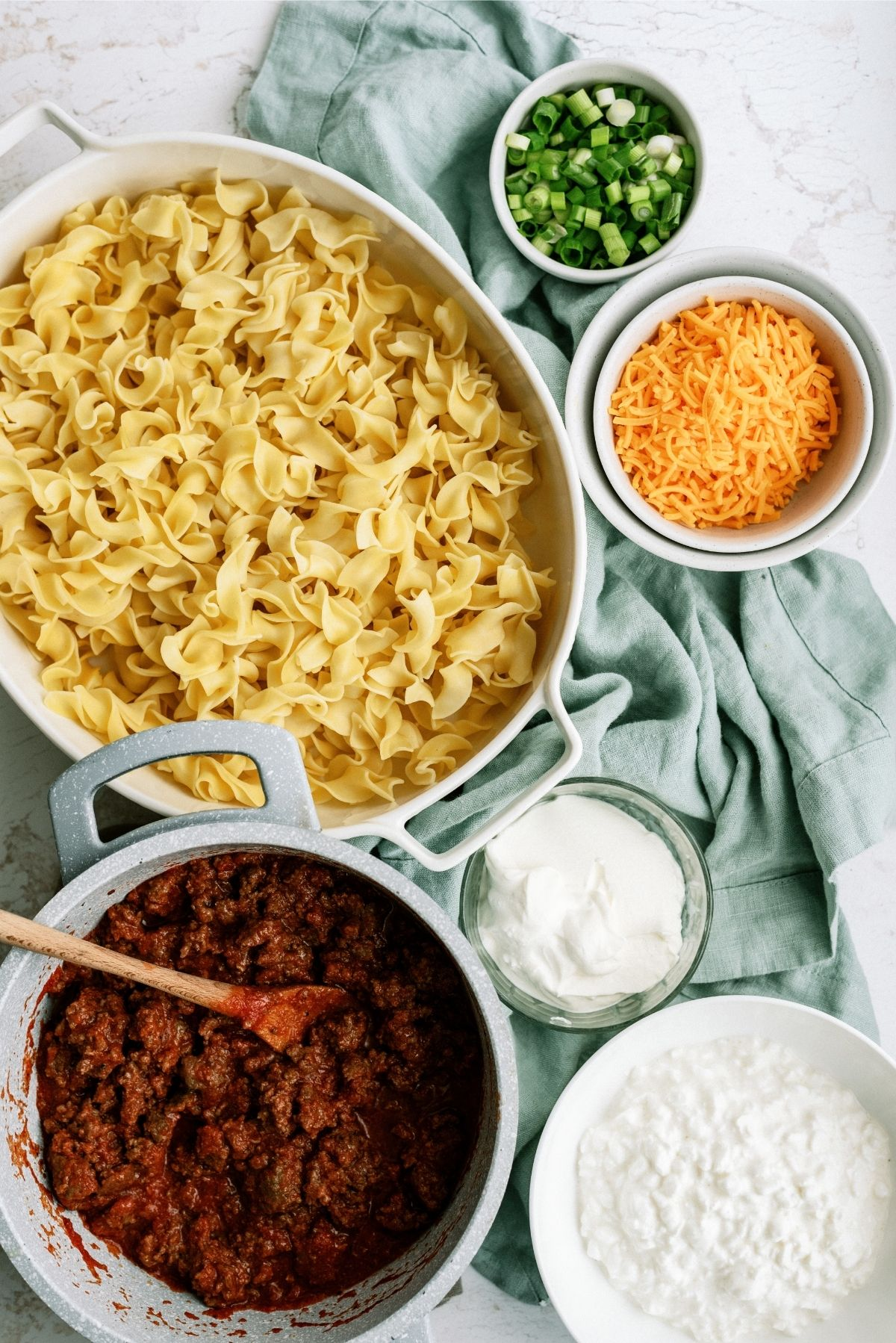 ingredients for beef and noodle casserole