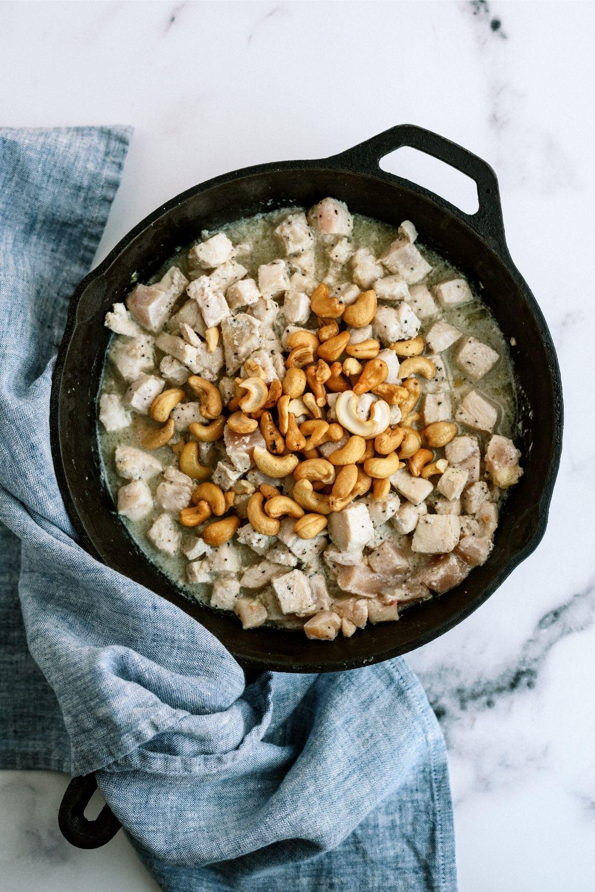 Chicken in a skillet for Cashew Chicken Skillet Stir-Fry