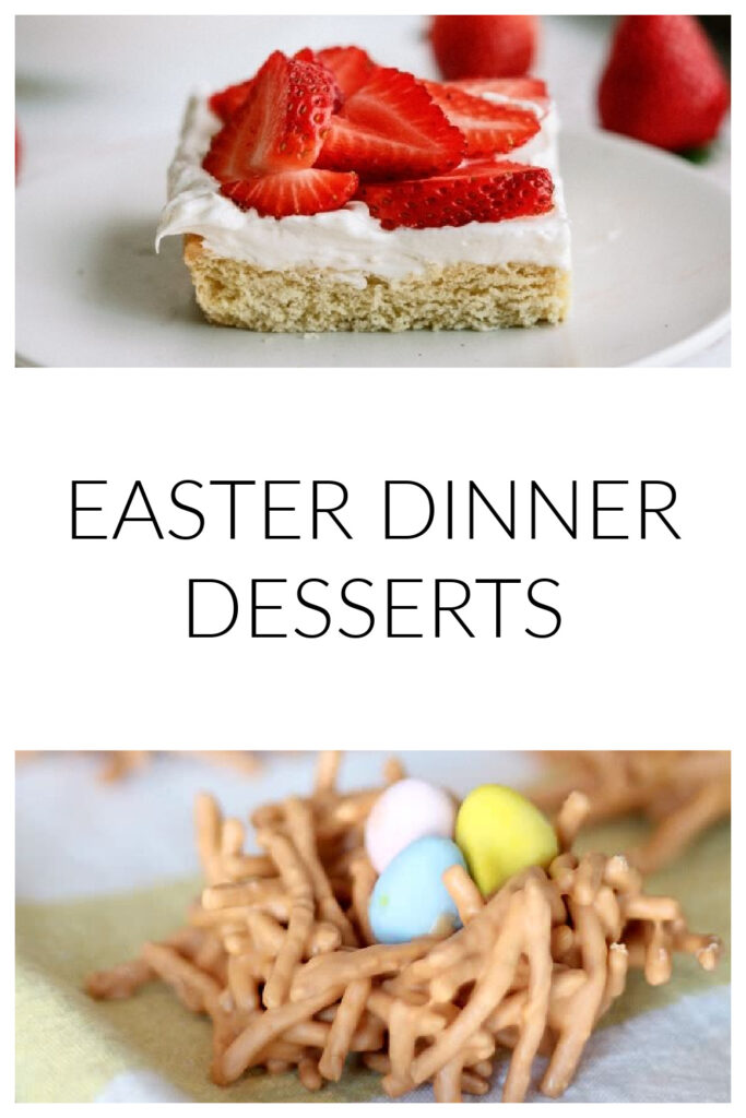 easter dinner dessert recipe ideas - strawberry cookie bars and chow mein birds nest cookies