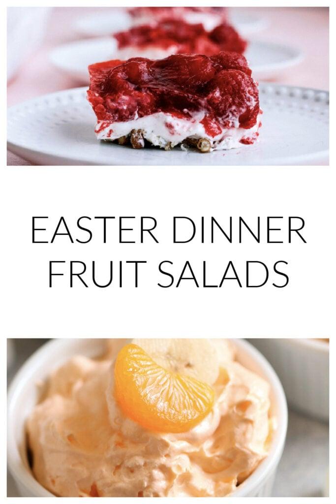 easter dinner fruit salad recipe ideas - jello fluff salad and raspberry pretzel salad