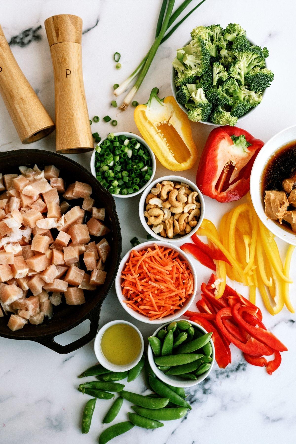 Ingredients for Cashew Chicken Skillet Stir-Fry